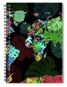 World Map Monstera Leaves  8 Spiral Notebook