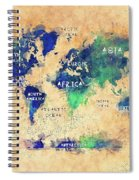 World Map Oceans And Continents Art Spiral Notebook