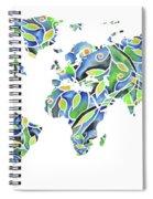 World Map Organic Green And Blue Spiral Notebook