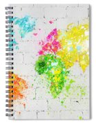 World Map Painting On Brick Wall Spiral Notebook