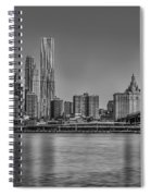 World Trade Center And The Brooklyn Bridge Bw Spiral Notebook