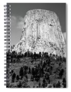 Wyoming Devils Tower National Monument With Climbers Bw Spiral Notebook