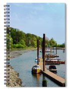 Yacht Harbor On The River. Film Effect Spiral Notebook