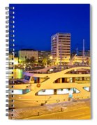 Yacht In Zadar Harbor Evening View Spiral Notebook