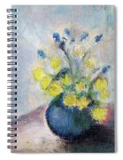 Yello Flowers In Blue Vaze Spiral Notebook