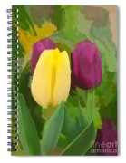 Yellow And Purple Tuilps Spiral Notebook