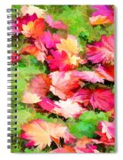 Yellow And Red Fall Maple Leaves Spiral Notebook