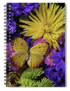 Yellow Butterfly On Bouquet Spiral Notebook