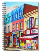 Yellow Car At The Smoked Meat Lineup Spiral Notebook