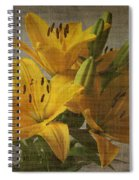 Yellow Lilies With Old Canvas Texture Background Spiral Notebook