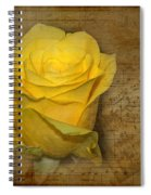 Yellow Rose With Old Notes Paper On The Background Spiral Notebook