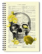 Skull With Yellow Roses Dictionary Art Print Spiral Notebook