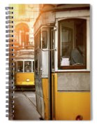 Yellow Trams Of Lisbon Portugal  Spiral Notebook