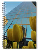 Yellow Tulips Looking Up At The Hancock Boston Ma Spiral Notebook