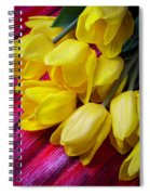 Yellow Tulips With Dew Drops Spiral Notebook