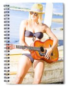 Young Attractive Blonde Woman Playing Guitar Spiral Notebook