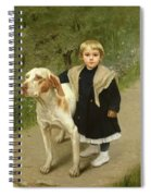Young Child And A Big Dog Spiral Notebook