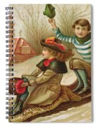 Young Girl And Boy Tobogganing, Victorian Christmas And New Year Card Spiral Notebook
