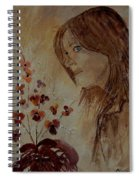 Young Girl And Flowers  Spiral Notebook