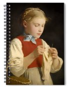 Young Girl Knitting Spiral Notebook