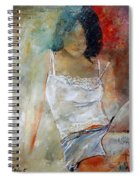 Young Girl Sitting Spiral Notebook
