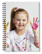 Young Kid Showing Her Colorful Hands Spiral Notebook