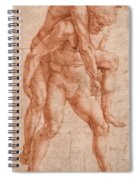 Young Man Carrying An Old Man On His Back Spiral Notebook