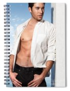Young Man In Unbuttoned Shirt Spiral Notebook