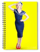 Young Retro Pinup Girl Wearing Sailor Uniform Spiral Notebook