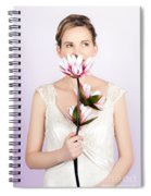 Young Romantic Woman With Lotus Flowers Spiral Notebook
