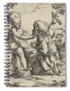 Young Saint John The Baptist Kneeling Before The Infant Christ Spiral Notebook
