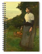 Young Woman In A Garden Of Oranges Spiral Notebook