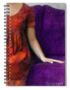 Young Woman In Red On Purple Couch Spiral Notebook