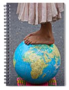 Young Woman Standing On Globe Spiral Notebook
