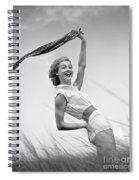 Young Woman Waving Scarf, C.1950-60s Spiral Notebook