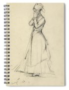 Young Woman With A Broom Spiral Notebook