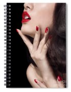 Young Woman With Red Lipstick Sensual Closeup Of Mouth Spiral Notebook