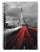 Zakim Bridge And Td Garden Boston Ma Red Tail Lights Spiral Notebook