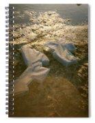 Zinc Sculptures On The Beach At Sunset Spiral Notebook