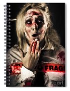 Zombie Woman Expressing Fear And Shock When Waking Spiral Notebook
