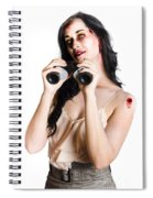 Zombie Woman With Binoculars Spiral Notebook