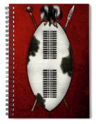 Zulu War Shield With Spear And Club On Red Velvet  Spiral Notebook
