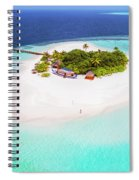 Aerial Drone View Of A Tropical Island, Maldives Spiral Notebook