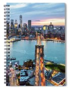 Aerial Of New York City  And Brooklyn Bridge At Dusk Spiral Notebook
