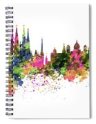 Barcelona Watercolor Skyline Spiral Notebook