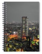 Mostly Black And White Tokyo Skyline At Night With Vibrant Selective Colors Spiral Notebook