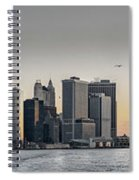 Panoramic View Of Manhattan Island And The Brooklyn Bridge At Su Spiral Notebook