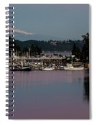 Pink Purple Glow Over Mount Rainier And Gig Harbor Marina After Sunset Spiral Notebook