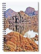 Prescott Arizona Watson Lake Rocks, Hills Water Sky Clouds 3122019 4868 Spiral Notebook
