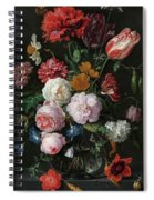 Still Life With Flowers In A Glass Vase, 1683 Spiral Notebook